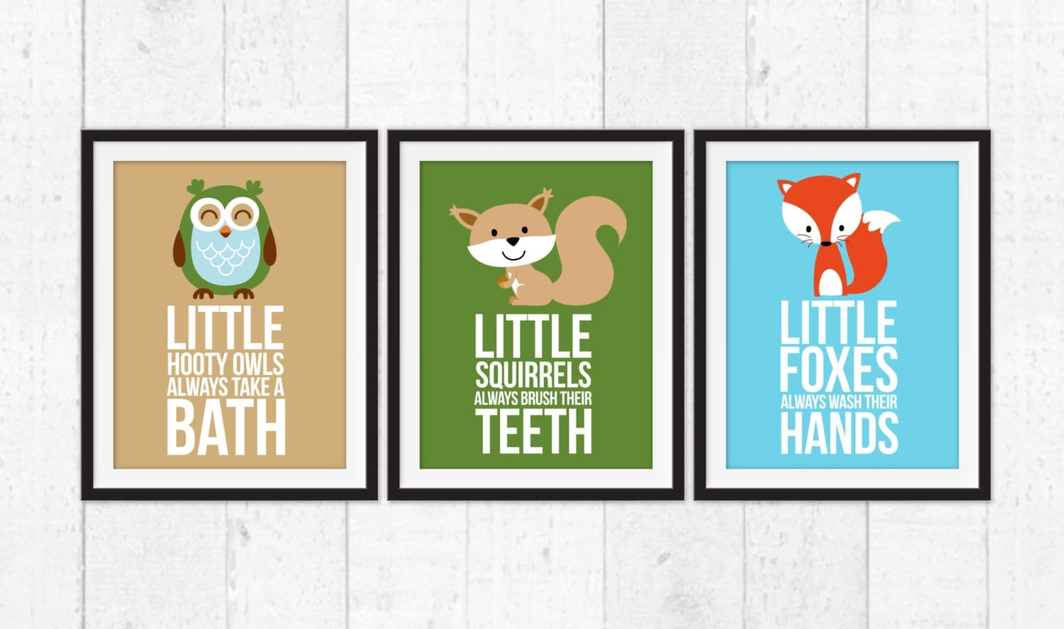 Little forest animals fox squirrel owls bathroom rules for Animal bathroom decor