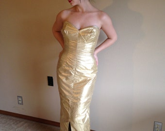 50s Bombshell Mr Blackwell Gold Red Carpet Statement Party Dress
