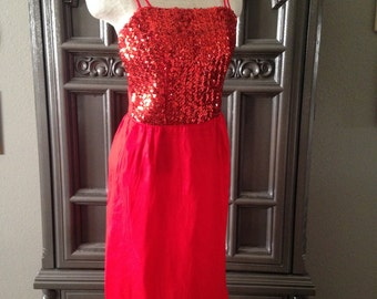 50s Christmas Red Wiggle Sequined Bodice Chiffon Overlay Party Dress