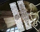 SALE-Wedding Garter - Ivory-Bridal White-Lace Garter-Rhinestone Garter-Applique-Garter-Vintage-Bridal Garter-Vintage Garter - Toss Garter