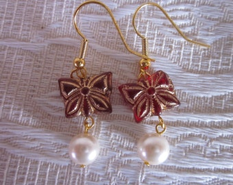 White Glass Pearl and Deep Red Butterflies with Gold Accents Dangle Earrings