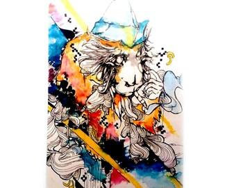 Mini art - ACEO - Artist trading card - Small art card - Watercolor art - Monkey Art - Artist card - Art trading card