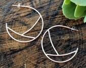 """Geometric Sterling Silver Hoop Earrings. Everyday Hoop Earrings. """"Peaks and Valley"""" Hoop with Post. Simple Modern 1-1/2 inch diameter."""
