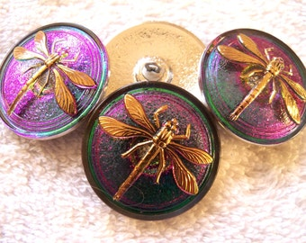 Czech  Glass Buttons  4 pcs   DRAGONFLY vitrail green with24K gold    31 mm     IVA  057