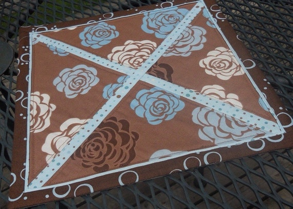 Floral Table Topper, brown, blue, off white, 11 inches square, floral table topper, candle mat, mug rug, handmade, Material Things, topper