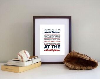 Baseball Print Take me out to the Ballgame  Pick your Team AND Colors - Baseball Nursery Canvas Printing Available
