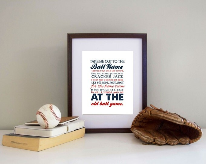 Baseball Print Take me out to the Ballgame  Pick your Team AND Colors - Baseball Nursery Canvas Printing Available