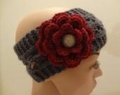 Headband with Flower - Dark Gray - Pretty Lace Details - Handknit - Cranberry Flower - Crochet - Interchangeable