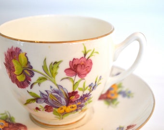 Vintage Duchess Fine Bone China Tea Cup and Saucer, Multi-Color Bouquet, Gold Gilt, England