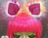 PREMADE Furry clip in disco kitty ears tie dye metallic sparkly rainbow cat ears wolf animal costume cosplay hair clips headband