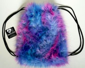 PREMADE FuZzy backpack rainbow tie dye furry fluffies rave bag festival faux fur purse hippie trippy rad furry boots legwarmers