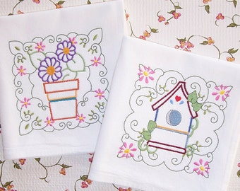 Embroidered Set of Flowerpot and Birdhouse Flour Sack Kitchen Towels