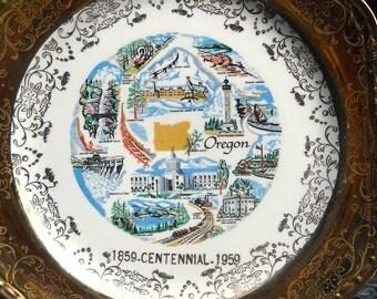 Vintage Plate, Oregon Souvenir Plate, Centennial Plate, Homer Laughlin, Georgian