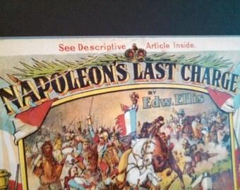 Napoleon's Last Charge Chromo lithograph music E T Paull 1910