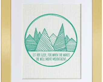 Let Her Sleep, Mountains, Illustration, White Burlap, Burlap Wall Decor, Frame Included