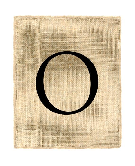 Letter O unframed, burlap art, monogram, alphabet, burlap wall decor, burlap print