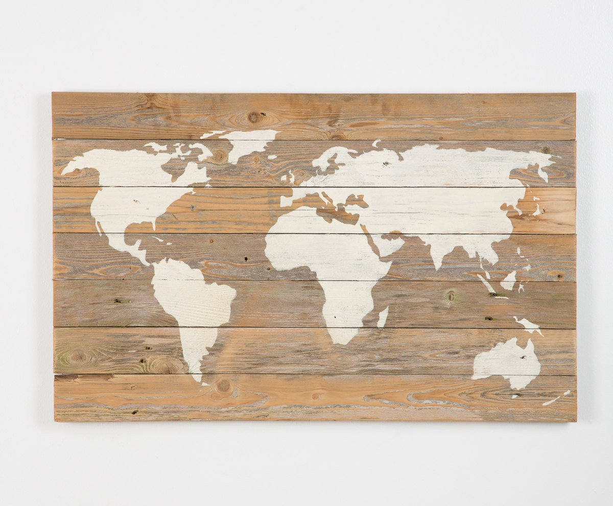 Reclaimed wood world map new lower price by delhutsondesigns for Price of reclaimed wood