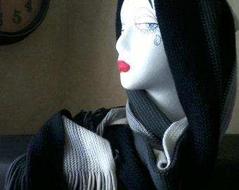 Black White Gray Knit Scarf