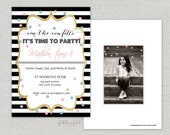Cue the confetti birthday invitation.  Stripes.  Sparkle.  Girl birthday.  Customize.  Printable.