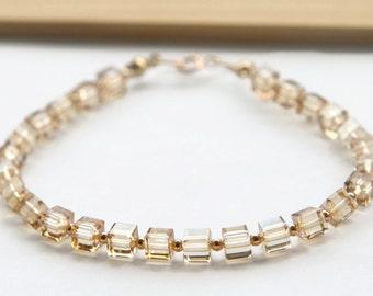 Swarovski Cube Bracelet, Golden Shadow Cube Bracelet, Gold Filled Bead Bracelet