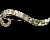 Boucher Rhinestone Brooch  Signed Ribbon Pin  Swish Swirl Baguette
