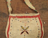 ON SALE vintage handmade american indian purse with beaded detail, rawhide, native american
