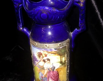 Antique Cobalt Blue Empire Portrait Vase JS marks