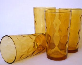 Drinking Glasses, Set of Four Amber Color Glasses, Thumb Print Polka Dot Imprint, Vintage Barware Cocktail Glasses
