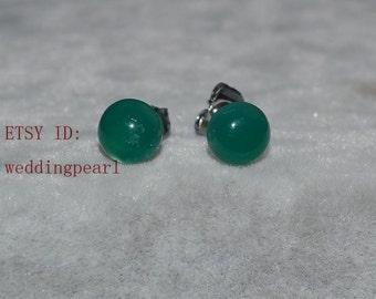 green jade earrings, 6mm green stone earrings, tiny green earrings, birthday lucky stone, Cabochon Gemstone post studs,small green jade stud