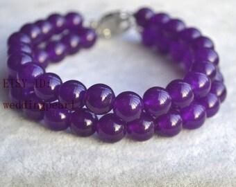 dark purple bracelet, 2 rows 8mm AAA  dark purple jade bracelet, wedding bracelet, Christmas present gift,lady bracelet, purple bracelet