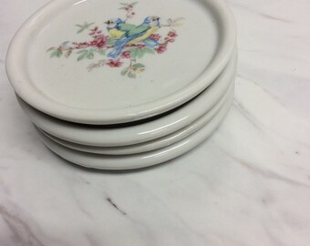 Vintage porcelain tea bag holders with hand painted bird motif (set of 4)