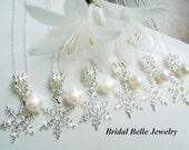Snowflake Necklaces Winter Wedding Bridesmaid Necklaces December Wedding
