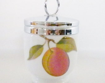 Vintage Egg Coddlers, Peach and Berries Pattern, Royal Worcester, England