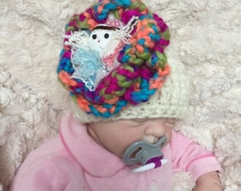 Baby girl rainbow crocheted,knitted hippie 0-3 months beanie,unique designer,sale kids newborn hats,gift,flower doll,rainb