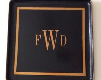 Square gold monogram border black tray