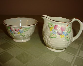 Crown Devon Sugar & Creamer Set Made in England Hand Painted Real Gold Accent, EX condition