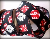 """Wired Gambling Dice Cotton Ribbon, Multi / Black, 1 3/8"""" inch wide, 1 yard, For Mixed Media, Scrapbook, Altered Art, Home Decor, Accessories"""