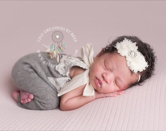 Petite Ivory Rhinestone Chiffon Baby Flower Headband, Newborn Headband, Baby Girl Flower Headband, Photography Prop