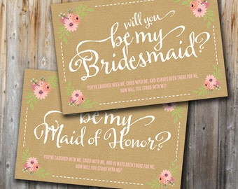 Will You Be My Bridesmaid Cards, Printable, Floral, Unique
