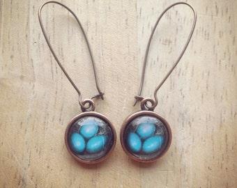 Robin's Nest, Eggs, Blue, Turquoise Photo Earrings, Triplets