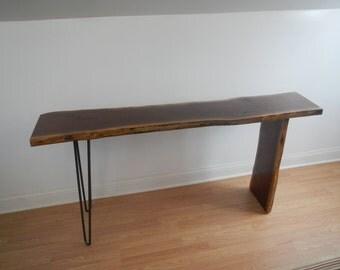 Mid Century Modern Live Edge Console Table / Hall Table / Sofa Table / Industrial / Hairpin Legs / Modern / Walnut /Danish Modern