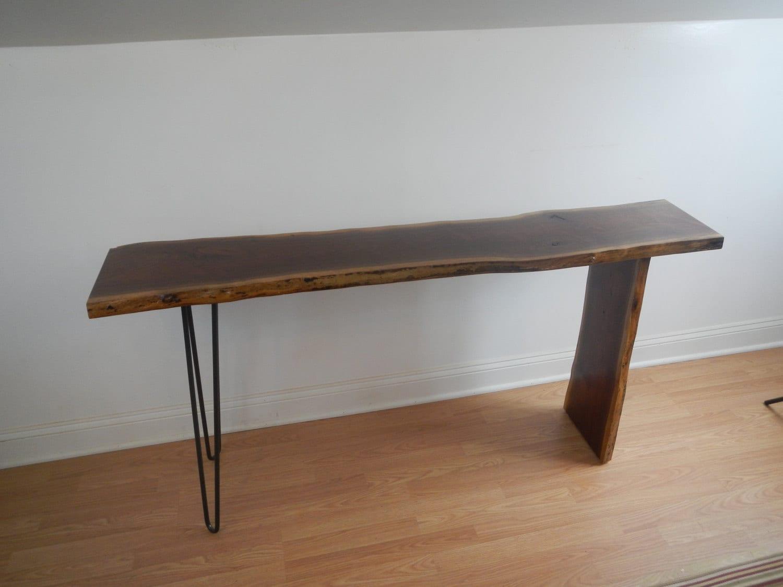Vintage mid century modern sofa table - Mid Century Modern Live Edge Console Table Hall Table Sofa Table Industrial