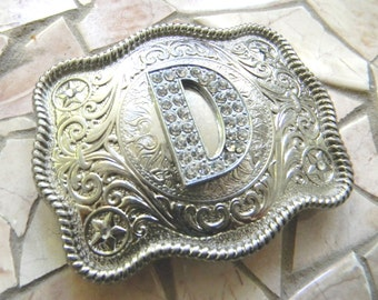 Monogram Letter D Personalized Silver Belt Buckle, Rhinestone Initial D Monogrammed Womens Mens Kids Western Belt Buckle, Custom Belt Buckle