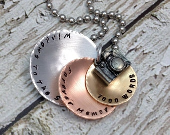 Photographer Necklace,Mixed Metals Necklace,Stacked Necklace,1000 Words,Hand Stamped Jewelry,Camera Charm,Photographer Gift