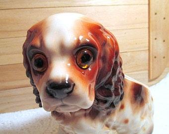 Cocker Spaniel dog planter Mid Century era home decor animal figurine