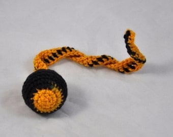New Orleans Saints - Crochet Cat Toy - Jingle Ball Snake - Pittsburgh Steelers Cat Toy - Homemade Cat Toy - Unique Cat Toys - Cat Ball - L1