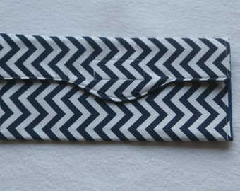 Navy Blue and White Chevron Pouch
