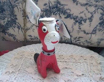 Vinyl Signature Red and White Dog, Vintage Toys, Vintage Toy Dog, Signiture Toy, Country Decor,   :) S