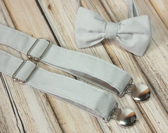 Solid Very Light Gray Bow Tie and  Suspenders set ( Men, boys, baby, toddler, infant Suspender and Bowtie ) outfit