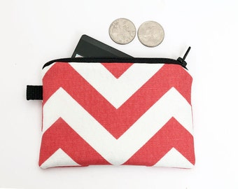 Coin purse, small zipper pouch, padded change wallet - coral red chevron stripes
